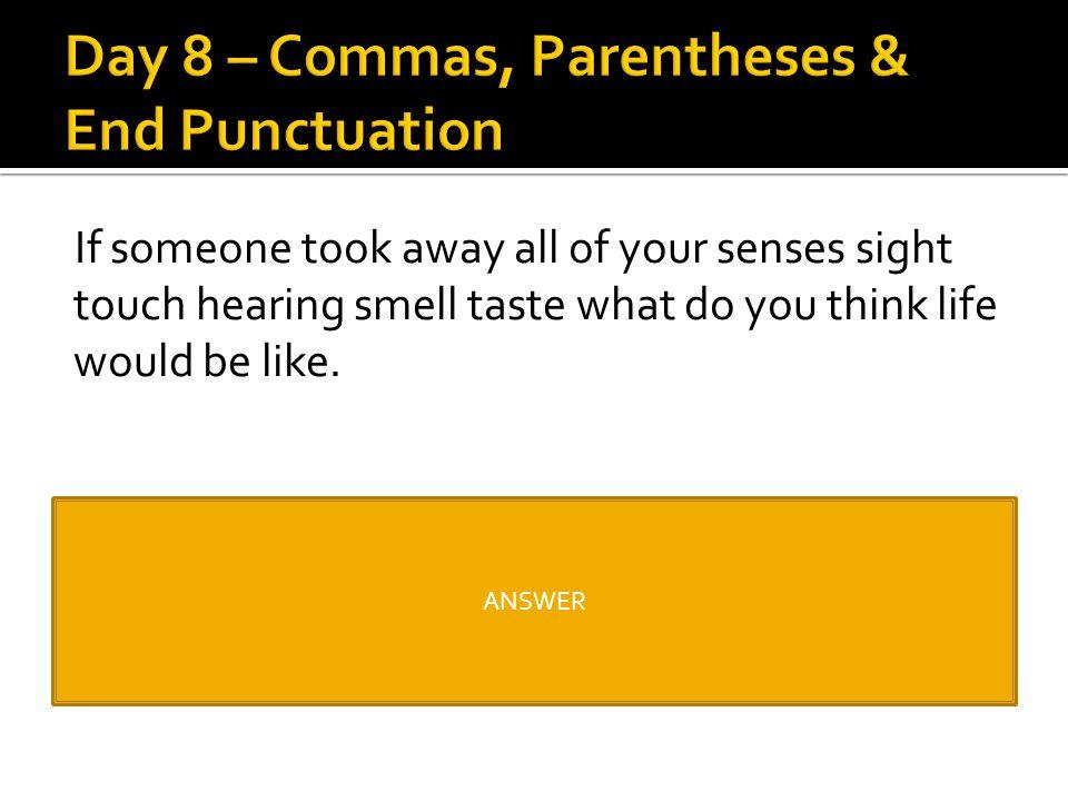 Day 8 – Commas, Parentheses & End Punctuation