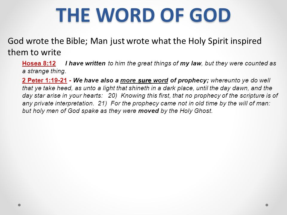 THE WORD OF GOD God wrote the Bible; Man just wrote what the Holy Spirit inspired them to write.