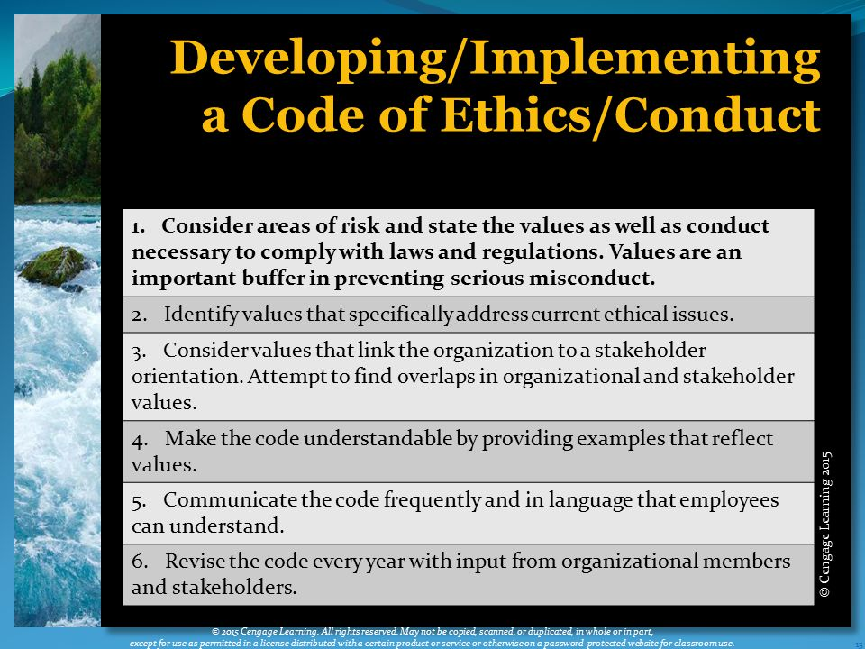 Developing/Implementing a Code of Ethics/Conduct