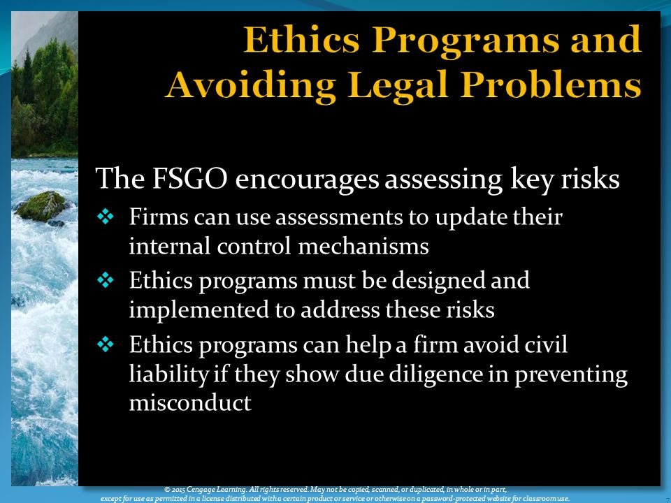 Ethics Programs and Avoiding Legal Problems