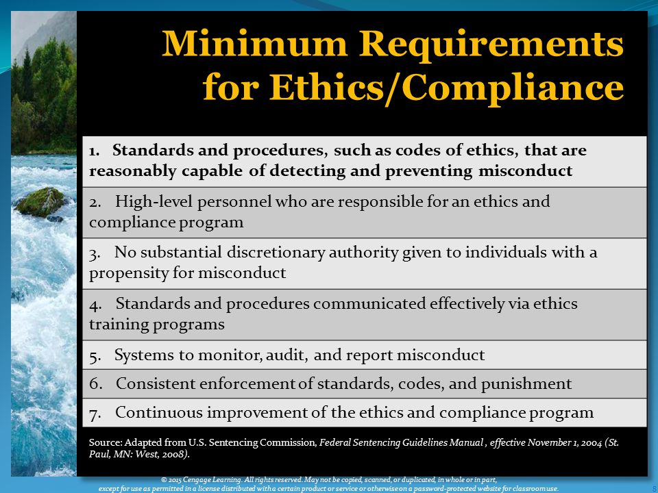 Minimum Requirements for Ethics/Compliance