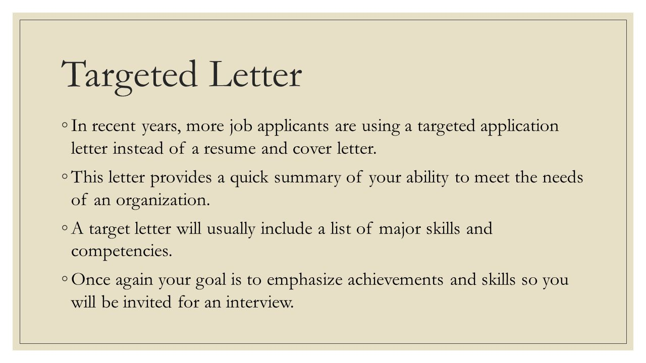 targeted application letter instead of a resume and cover letter