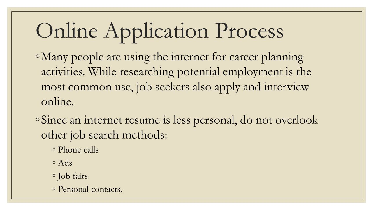 Online Application Process