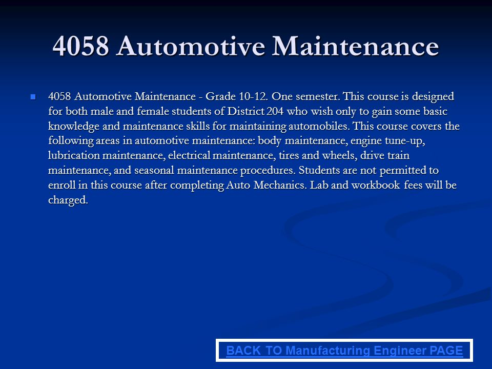 4058 Automotive Maintenance