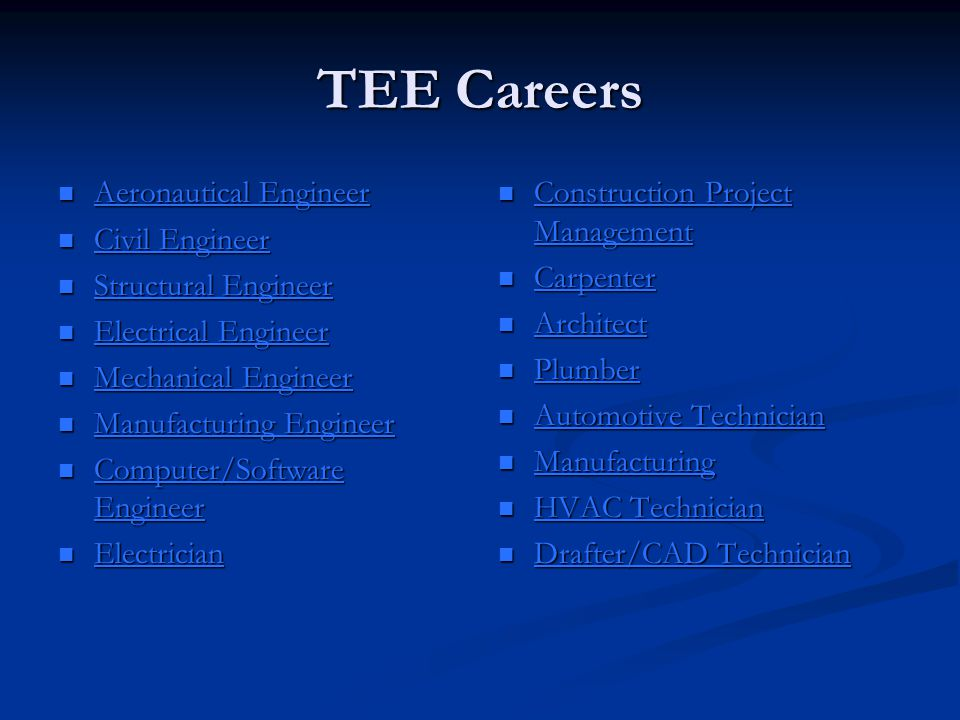 TEE Careers Aeronautical Engineer Civil Engineer Structural Engineer
