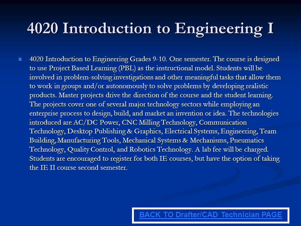 4020 Introduction to Engineering I