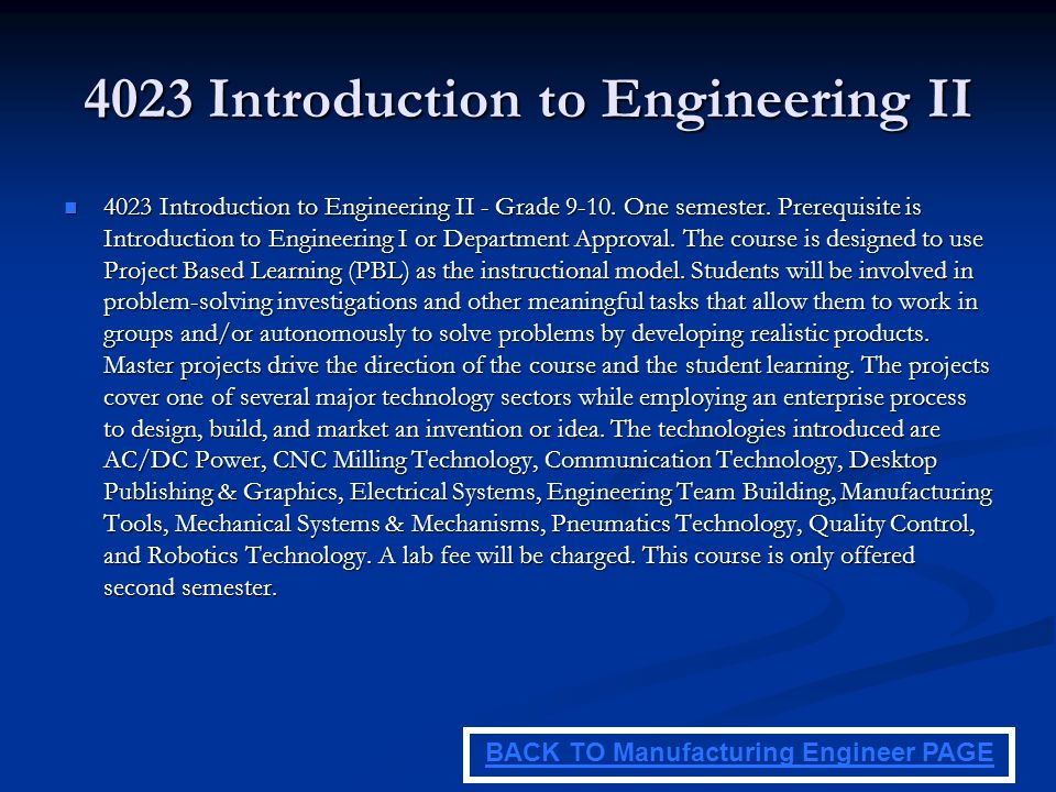 4023 Introduction to Engineering II