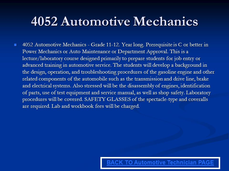 BACK TO Automotive Technician PAGE