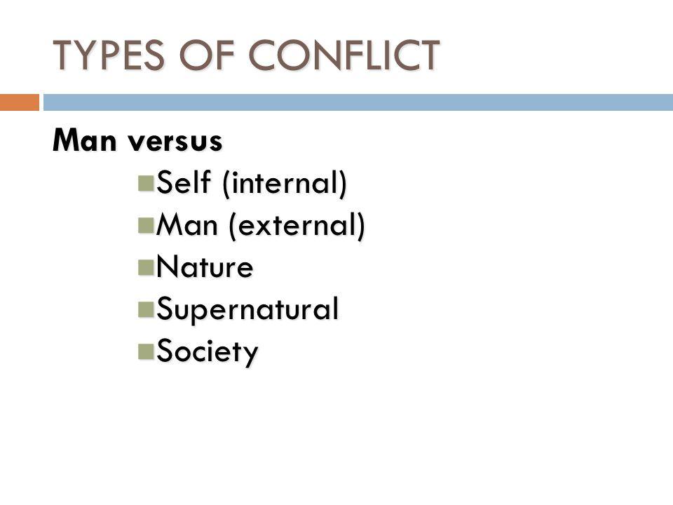TYPES OF CONFLICT Man versus Self (internal) Man (external) Nature