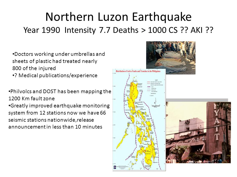 Northern Luzon Earthquake Year 1990 Intensity 7. 7 Deaths > 1000 CS