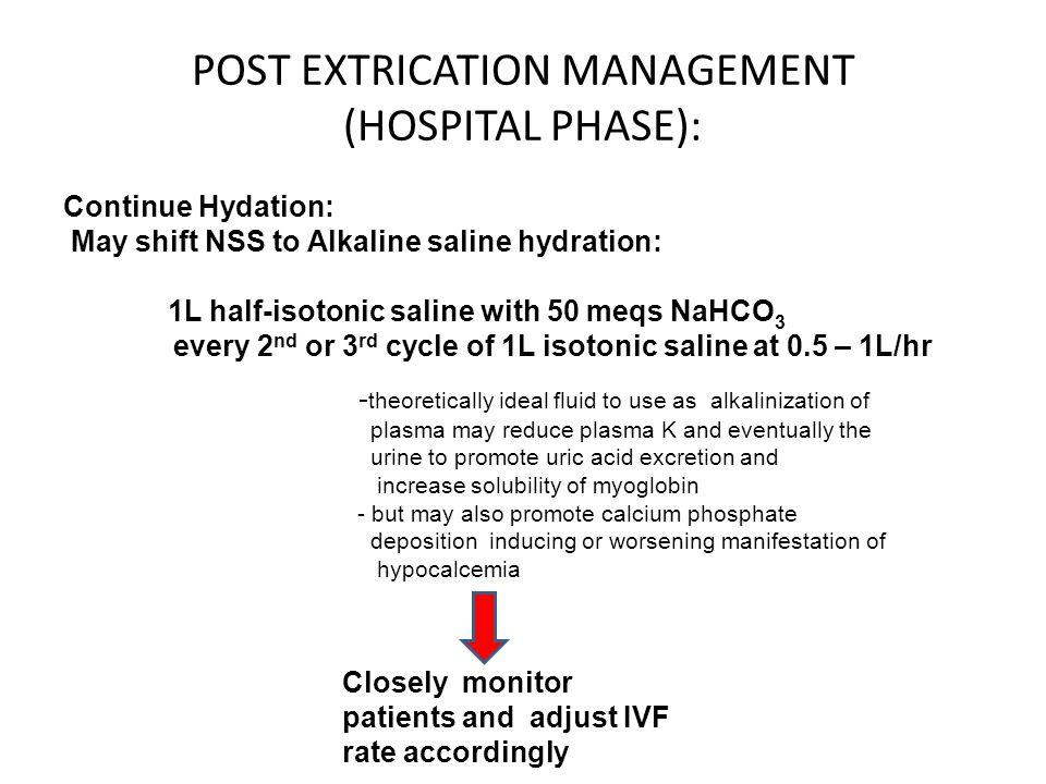 POST EXTRICATION MANAGEMENT (HOSPITAL PHASE):