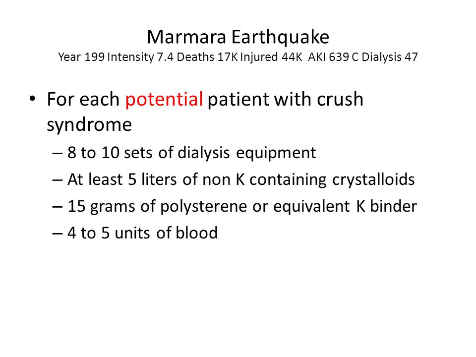For each potential patient with crush syndrome