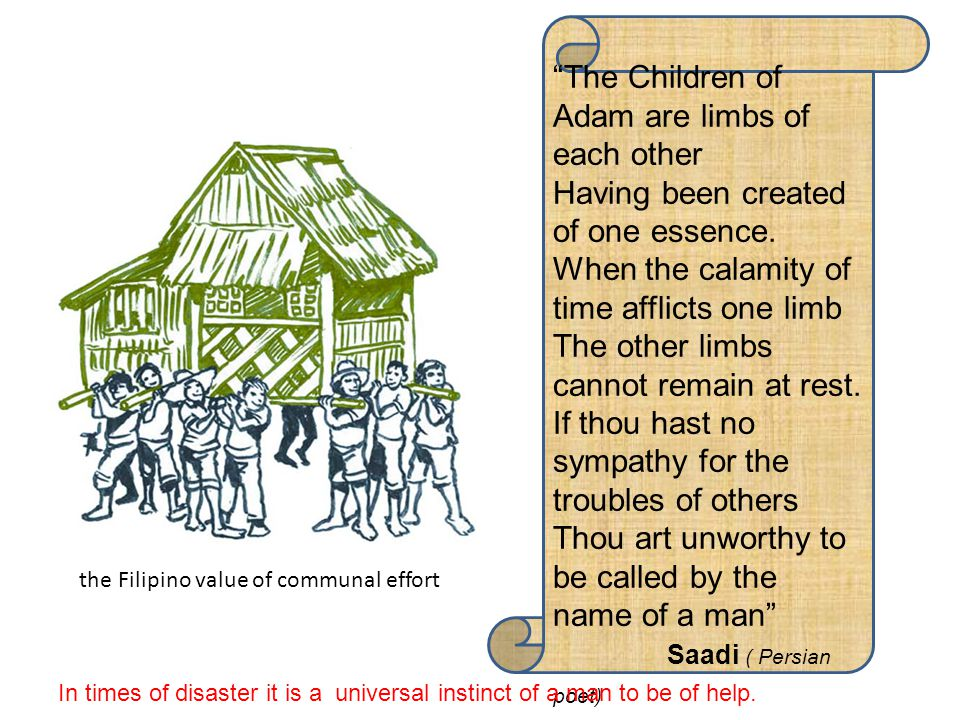 The Children of Adam are limbs of each other