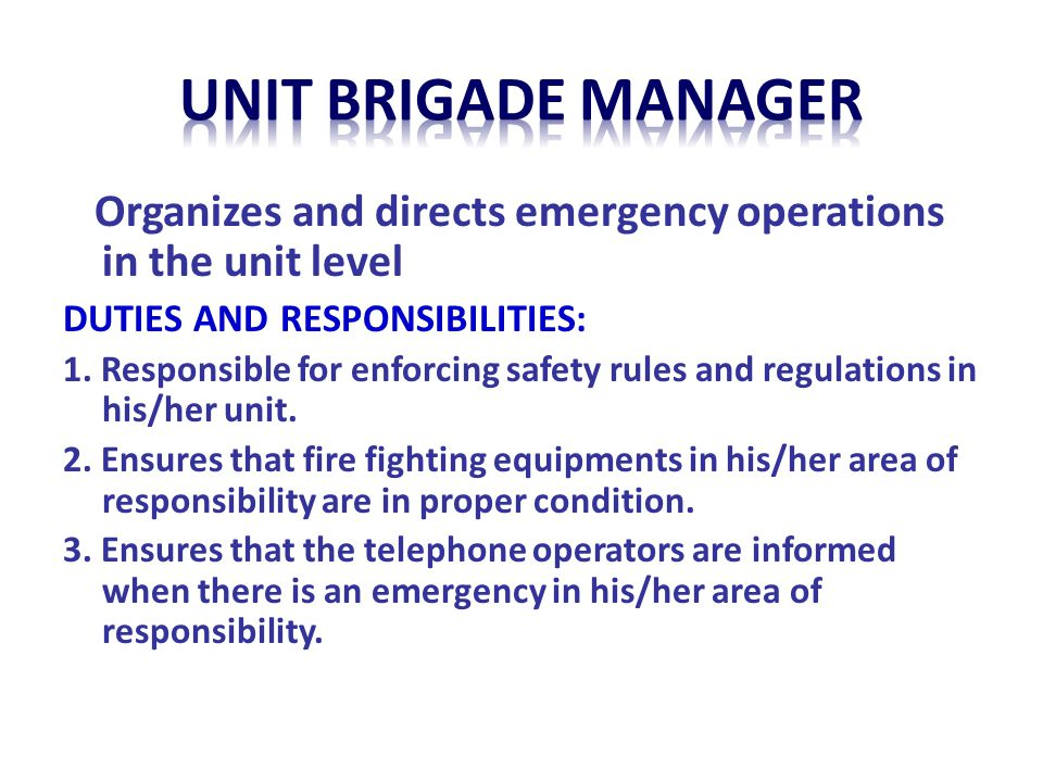 unit BRIGADE MANAGER Organizes and directs emergency operations in the unit level. DUTIES AND RESPONSIBILITIES: