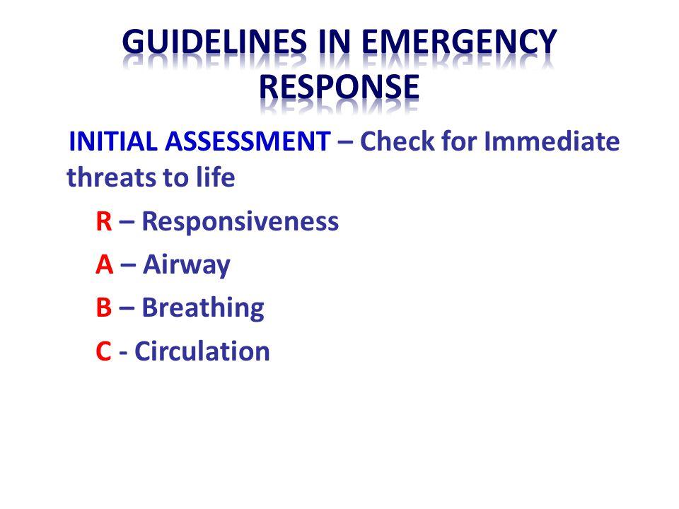 Guidelines in emergency respoNse