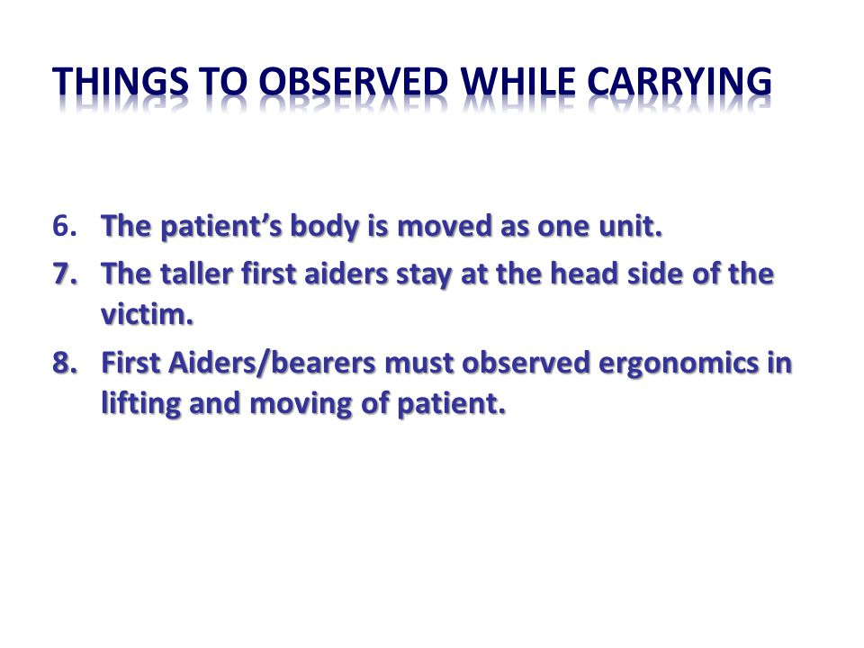 THINGS TO OBSERVED WHILE CARRYING