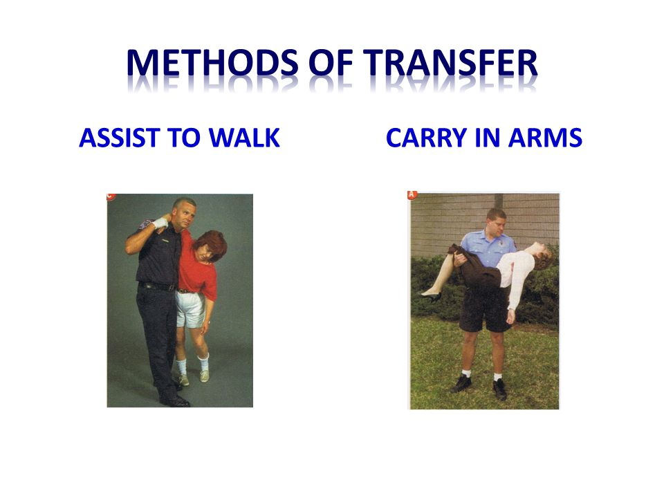 Methods of transfer ASSIST TO WALK CARRY IN ARMS