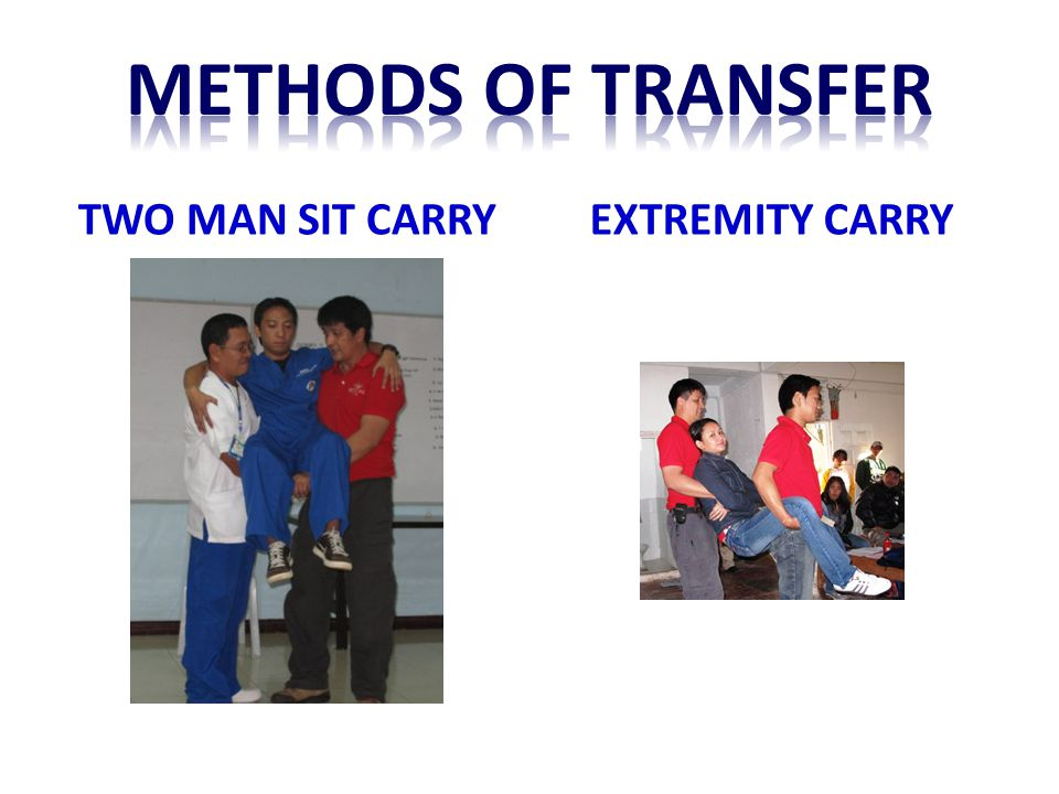 Methods of transfer TWO MAN SIT CARRY EXTREMITY CARRY