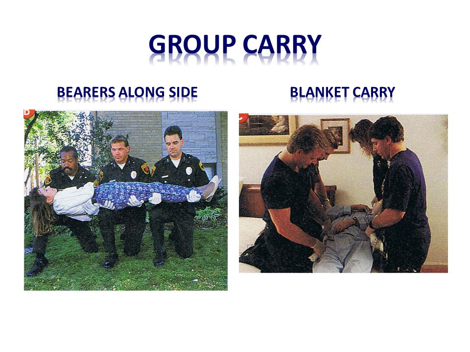 Group carry Bearers along side Blanket carry