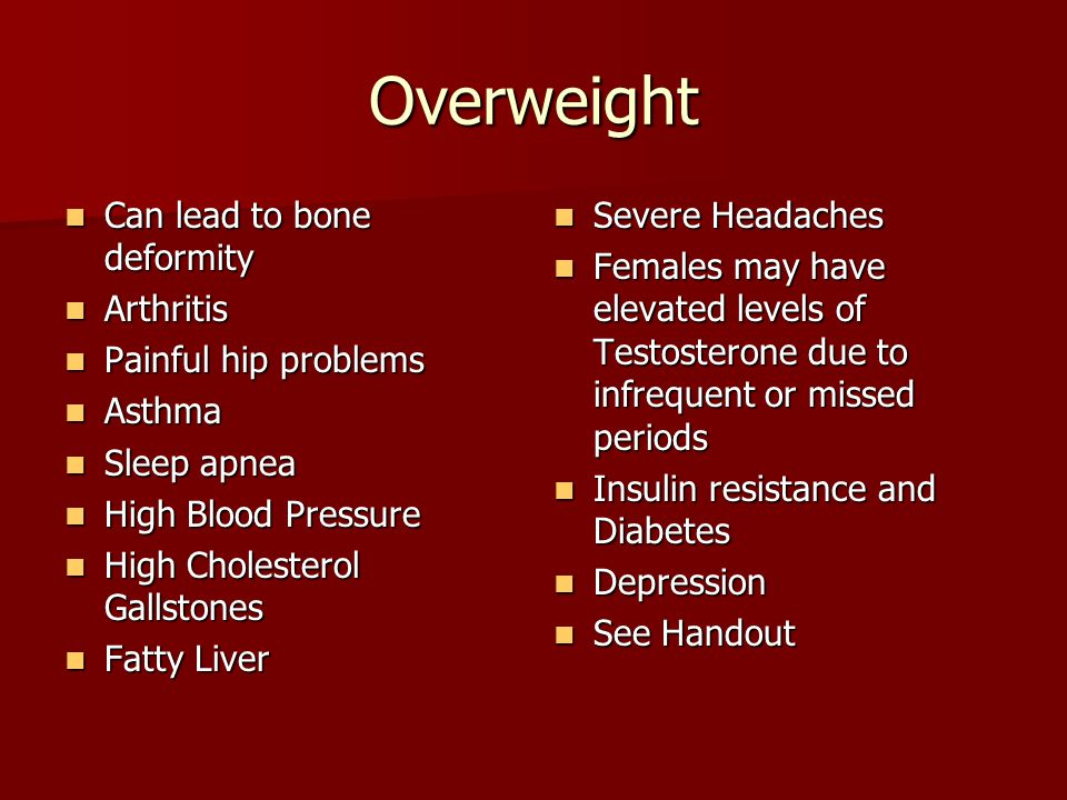 Overweight Can lead to bone deformity Arthritis Painful hip problems