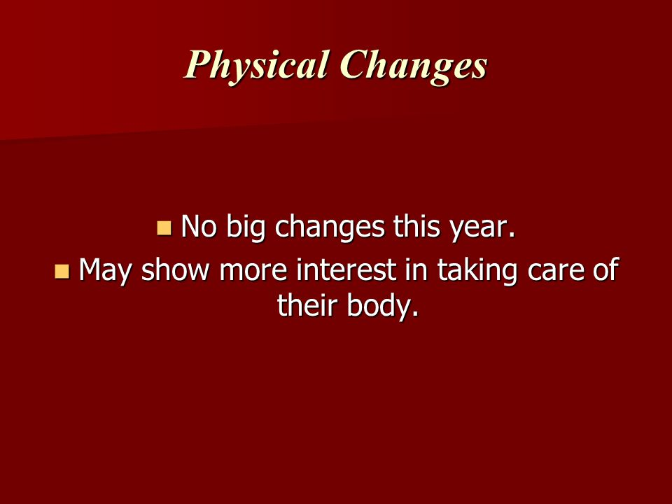 Physical Changes No big changes this year.
