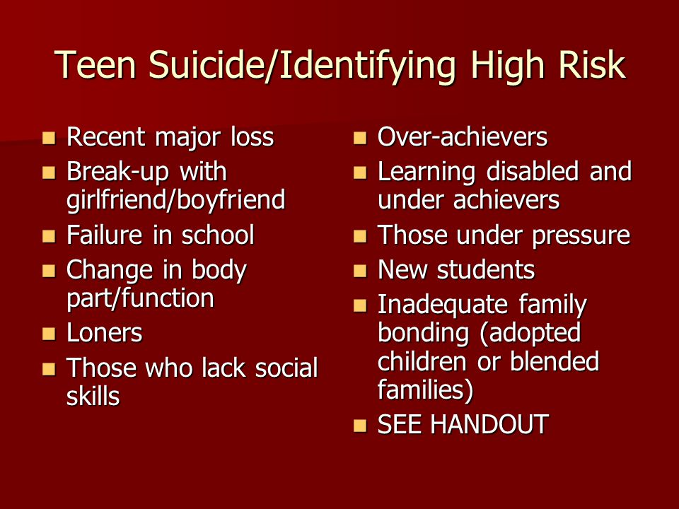 Teen Suicide/Identifying High Risk