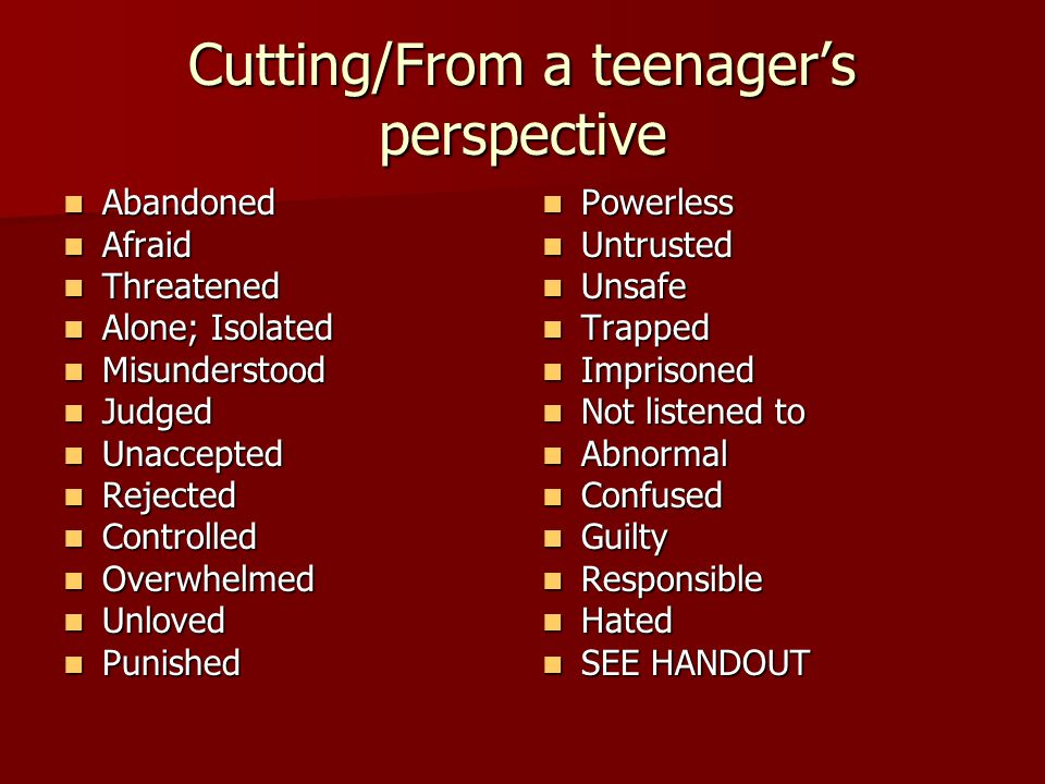 Cutting/From a teenager's perspective