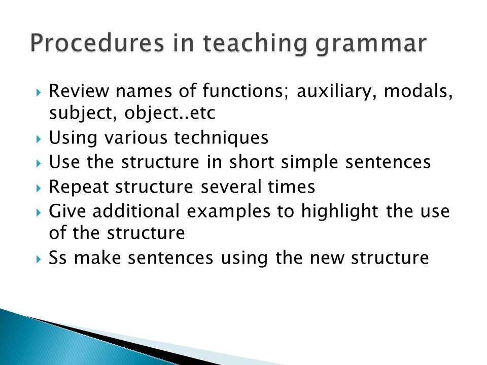 Procedures in teaching grammar