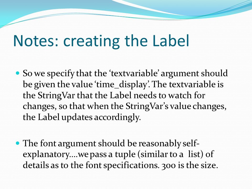 Notes: creating the Label