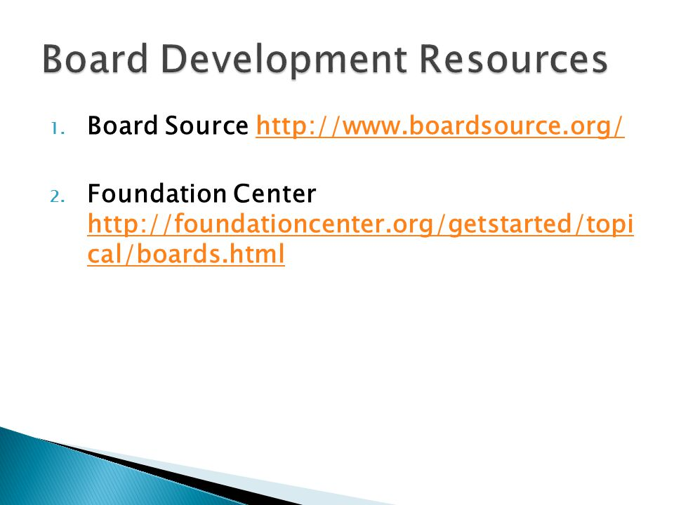 Board Development Resources