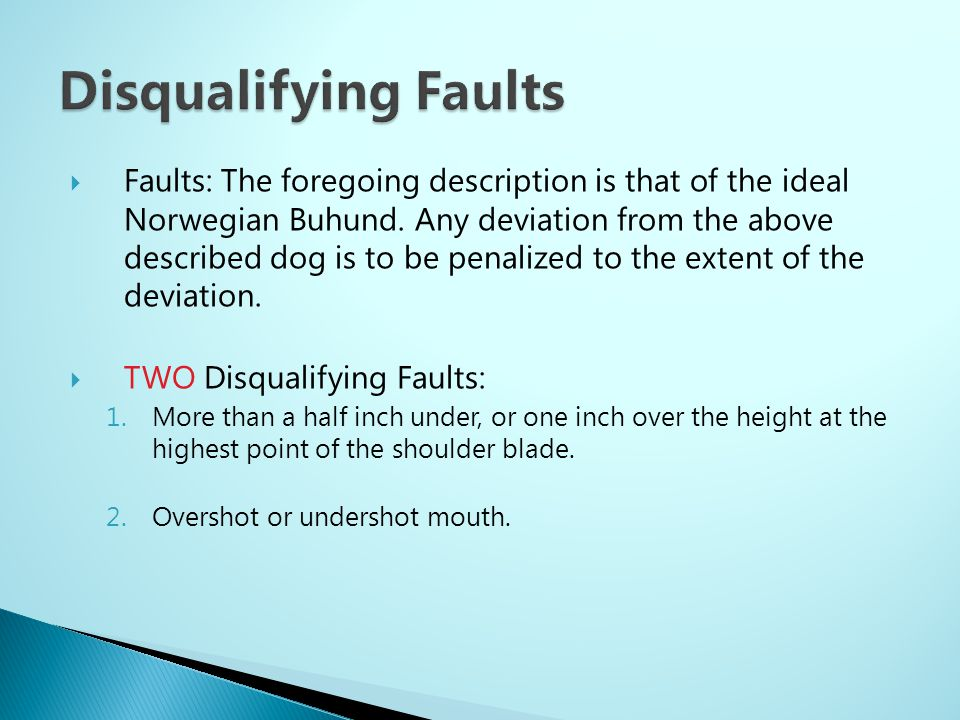Disqualifying Faults
