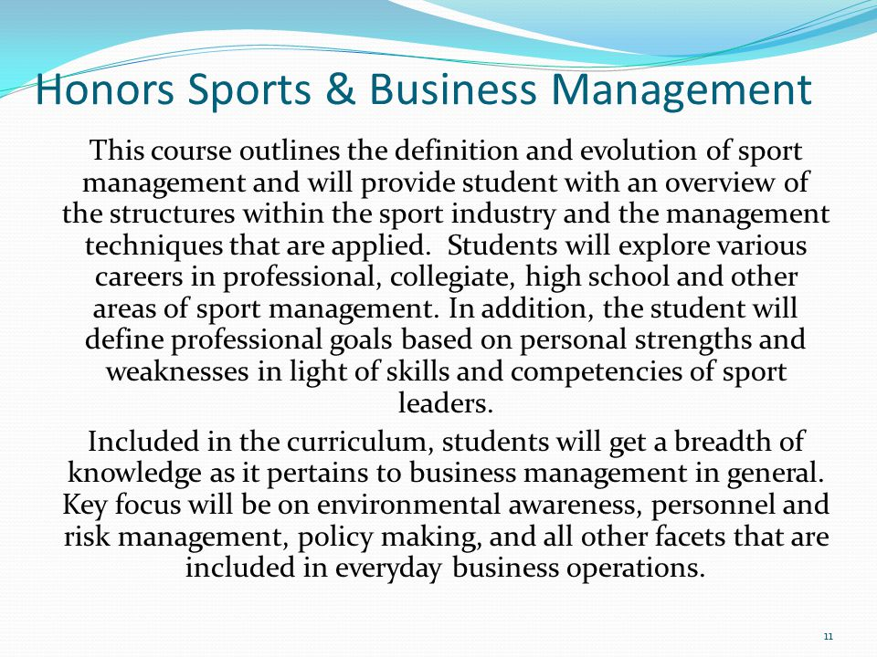 Honors Sports & Business Management