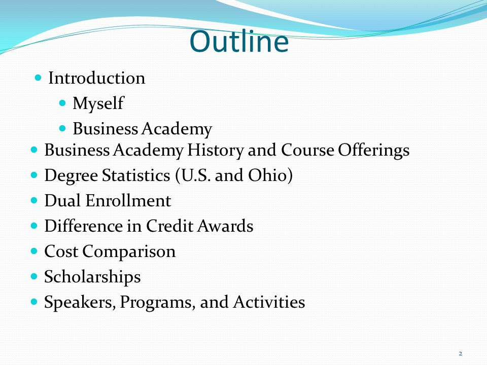 Outline Introduction Myself Business Academy