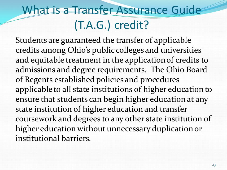 What is a Transfer Assurance Guide (T.A.G.) credit