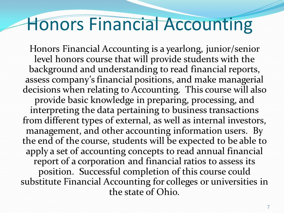 Honors Financial Accounting