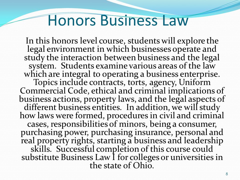 Honors Business Law