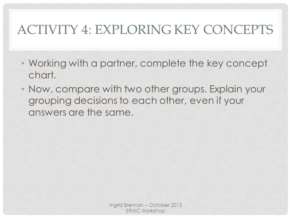 Activity 4: exploring key concepts