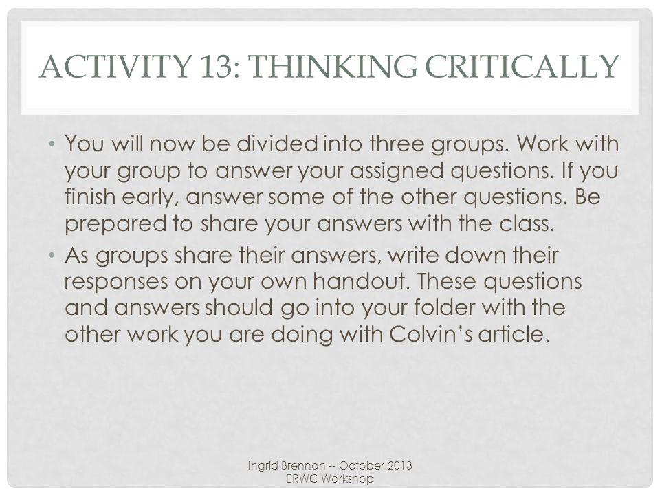Activity 13: thinking critically