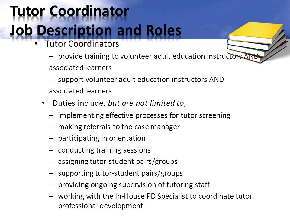 Tutor Coordinator Job Description and Roles