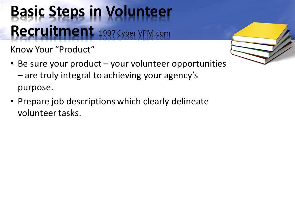 Basic Steps in Volunteer Recruitment 1997 Cyber VPM.com
