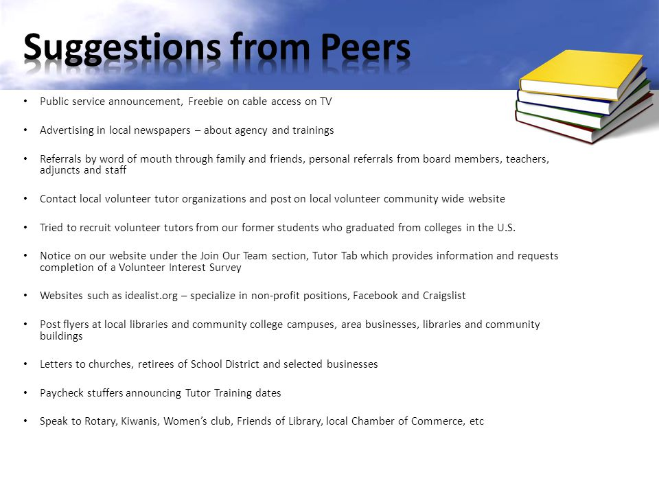 Suggestions from Peers