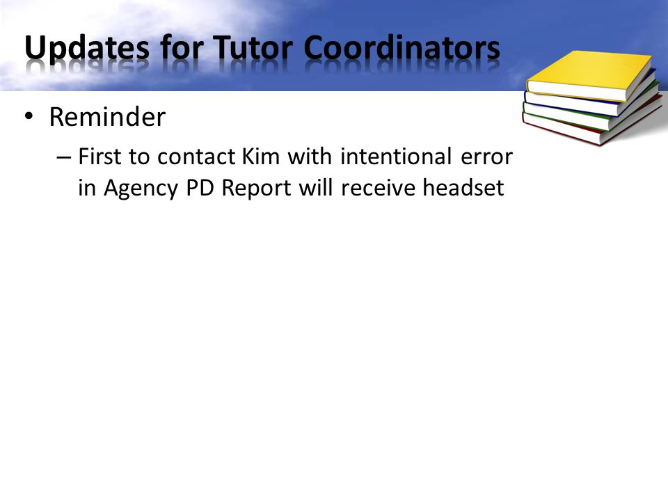 Updates for Tutor Coordinators