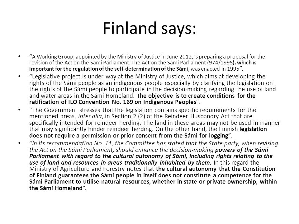 Finland says: