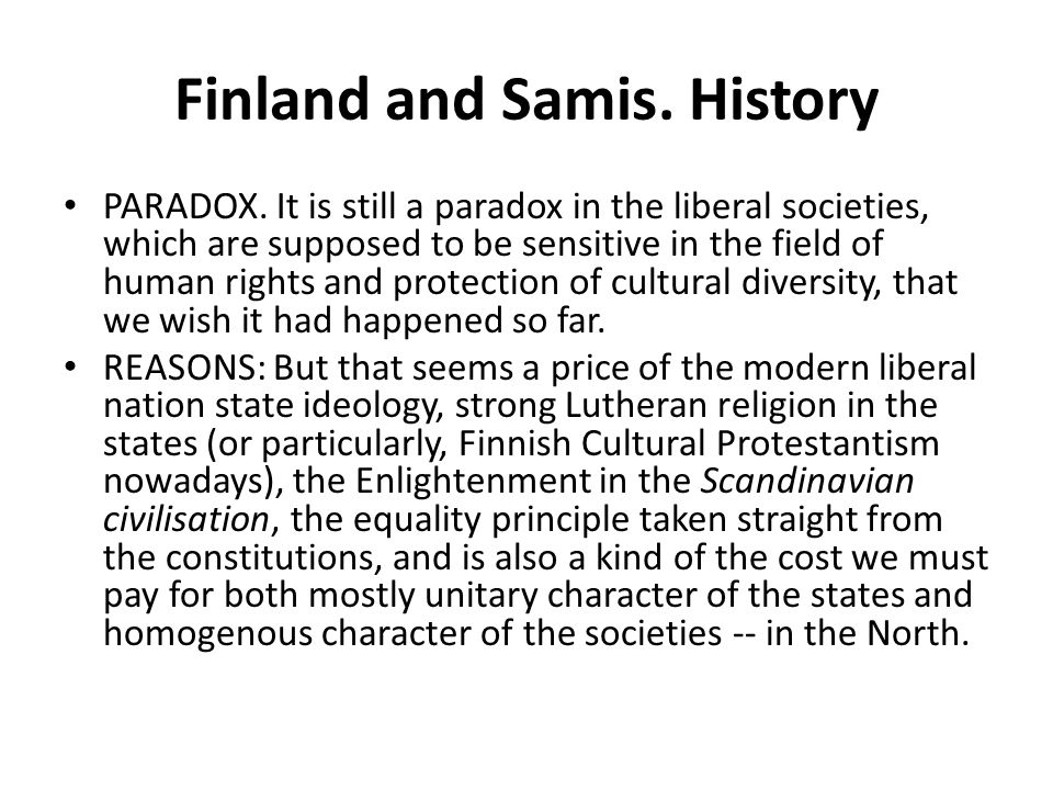 Finland and Samis. History
