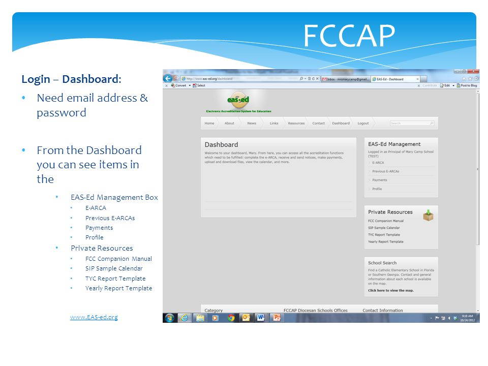 FCCAP Login – Dashboard: Need email address & password