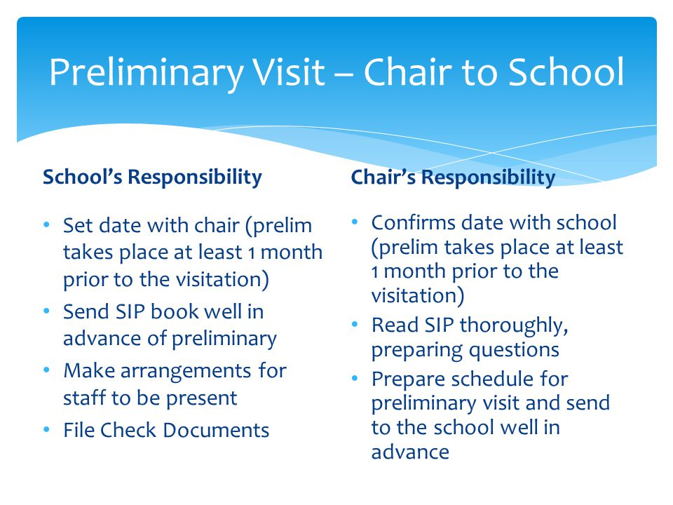 Preliminary Visit – Chair to School
