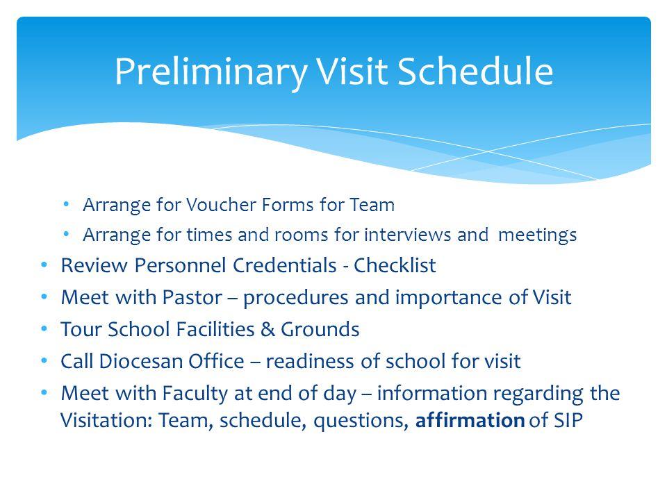 Preliminary Visit Schedule