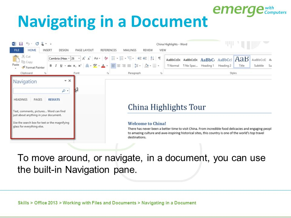 Navigating in a Document