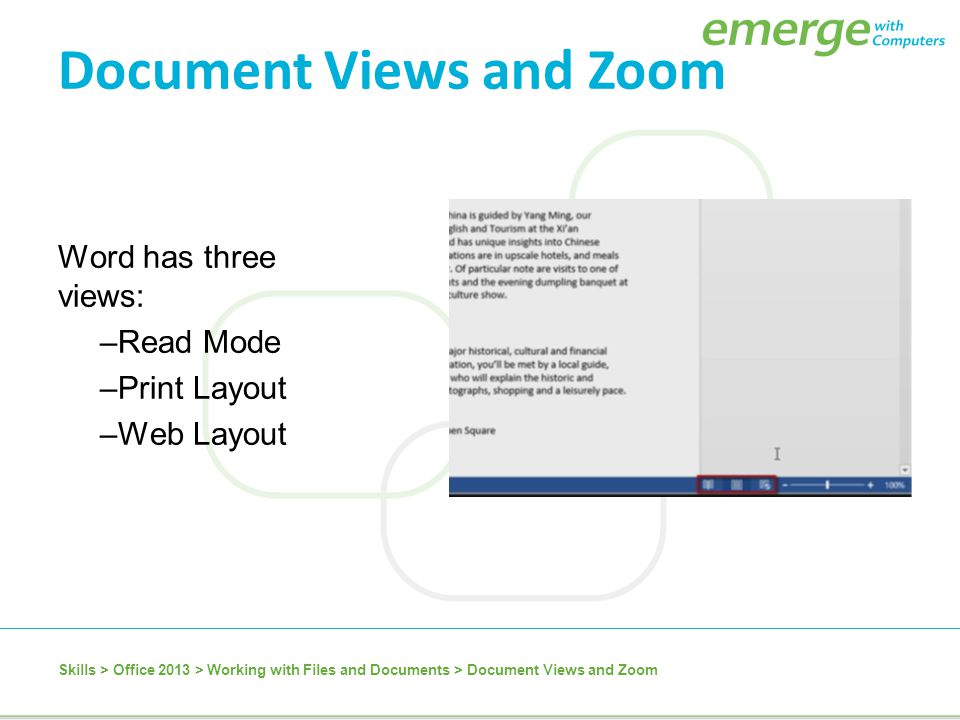 Document Views and Zoom
