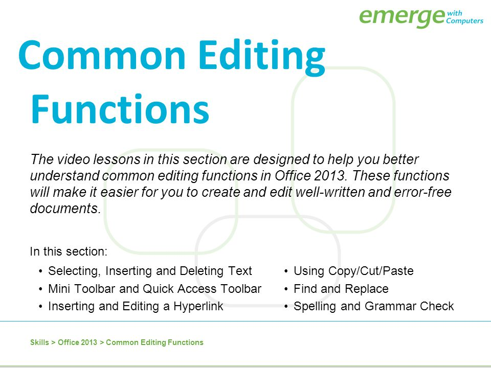 Common Editing Functions